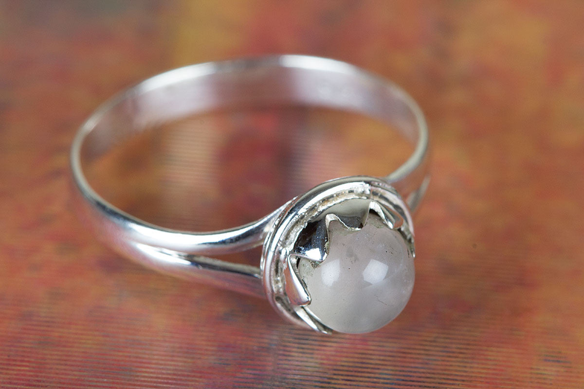 Handemade Rose Quartz Gemstone 925 Silver Ring