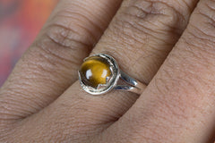 Handemade Tiger Eye Gemstone 925 Silver Ring