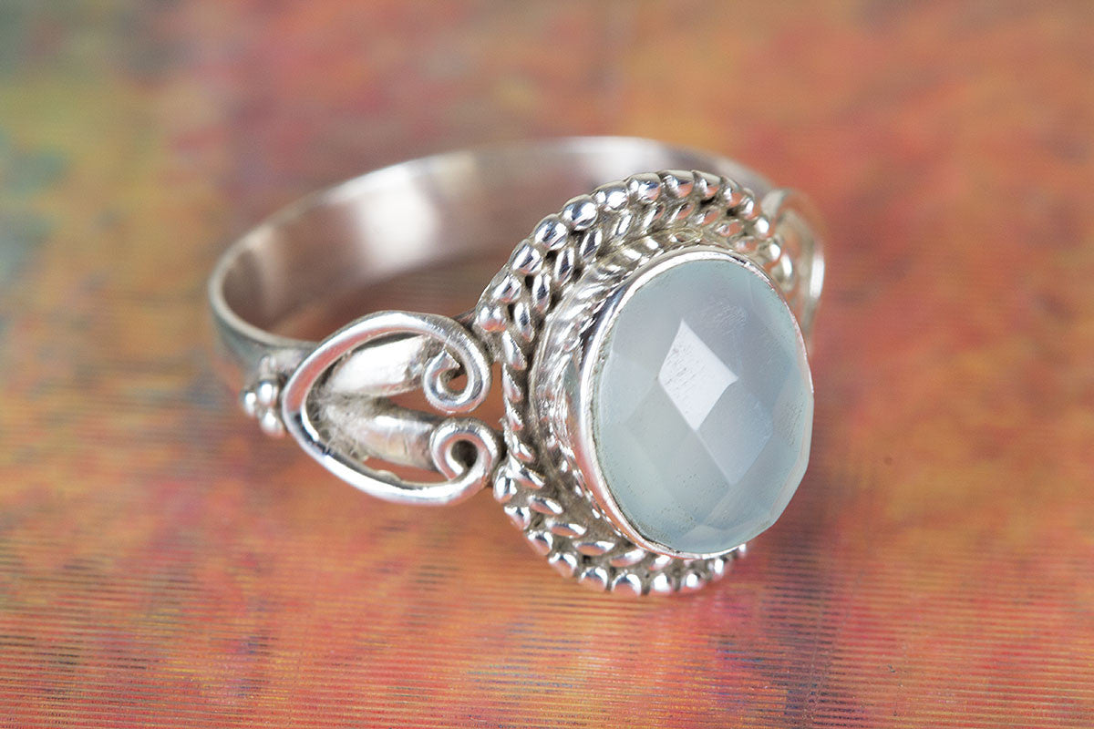 Handmade Faceted Aqua Chalcedony Gemstone 925 Silver Ring