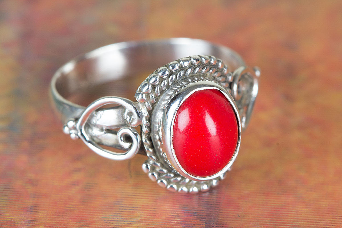 Coral Ring, Red Coral Ring, Pure Sterling Silver Ring, Boho Ring, Inspiration Ring, Trend Ring, Coral Silver Ring, Artisan Ring, Gift Ring