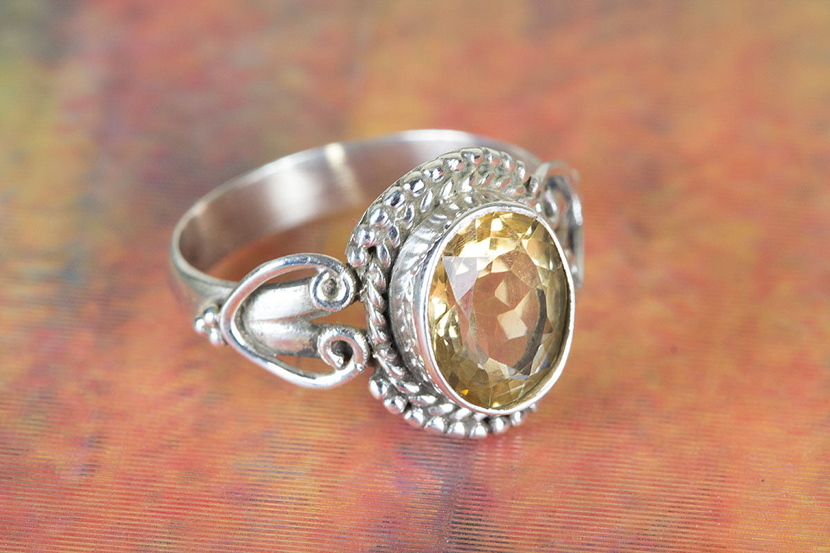 Handmade Citrine Gemstone 925 Silver Ring