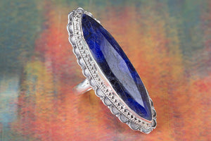 Awesome Long Sapphire Gemstone 925 Silver Handmade Ring