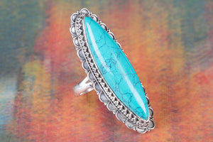 Awesome Long Turquoise Gemstone 925 Silver Handmade Ring