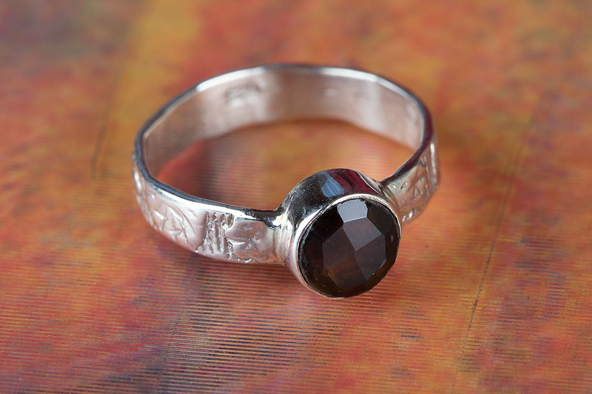 Awesome 925 Sterling Silver Faceted Smoky Quartz Gemstone Handmade Ring