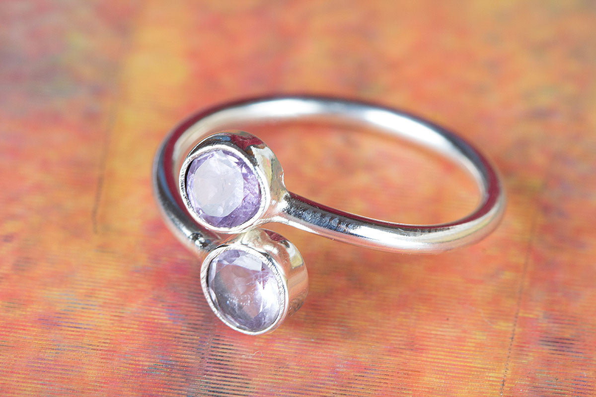 925 Sterling Silver Faceted Amethyst Gemstone Handmade Ring
