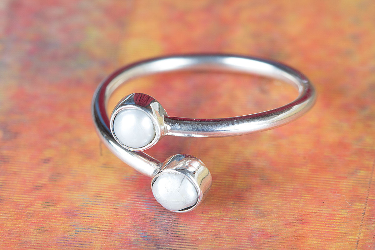 925 Sterling Silver Pearl Gemstone Handmade Ring
