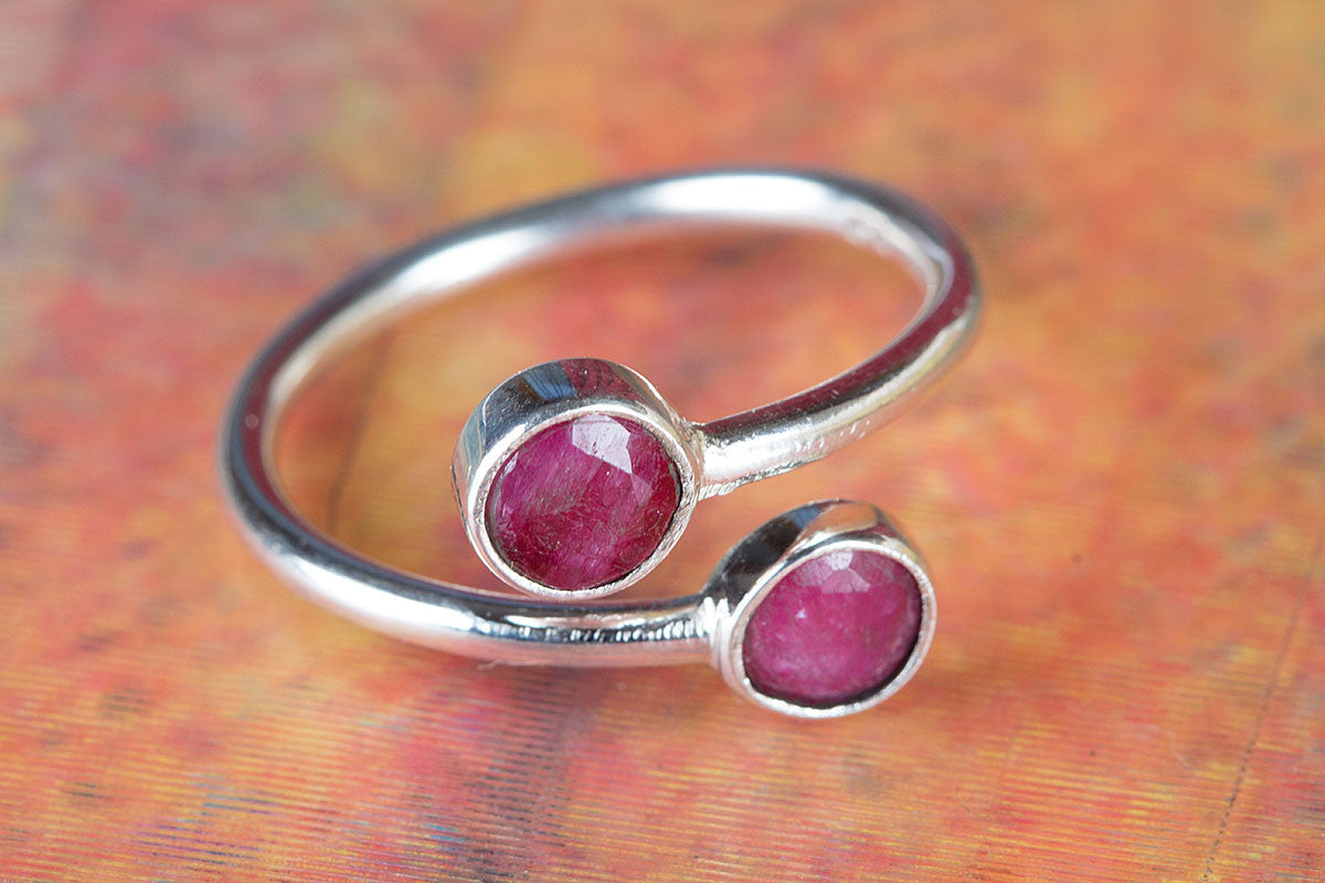 925 Sterling Silver Red Ruby Gemstone Handmade Ring