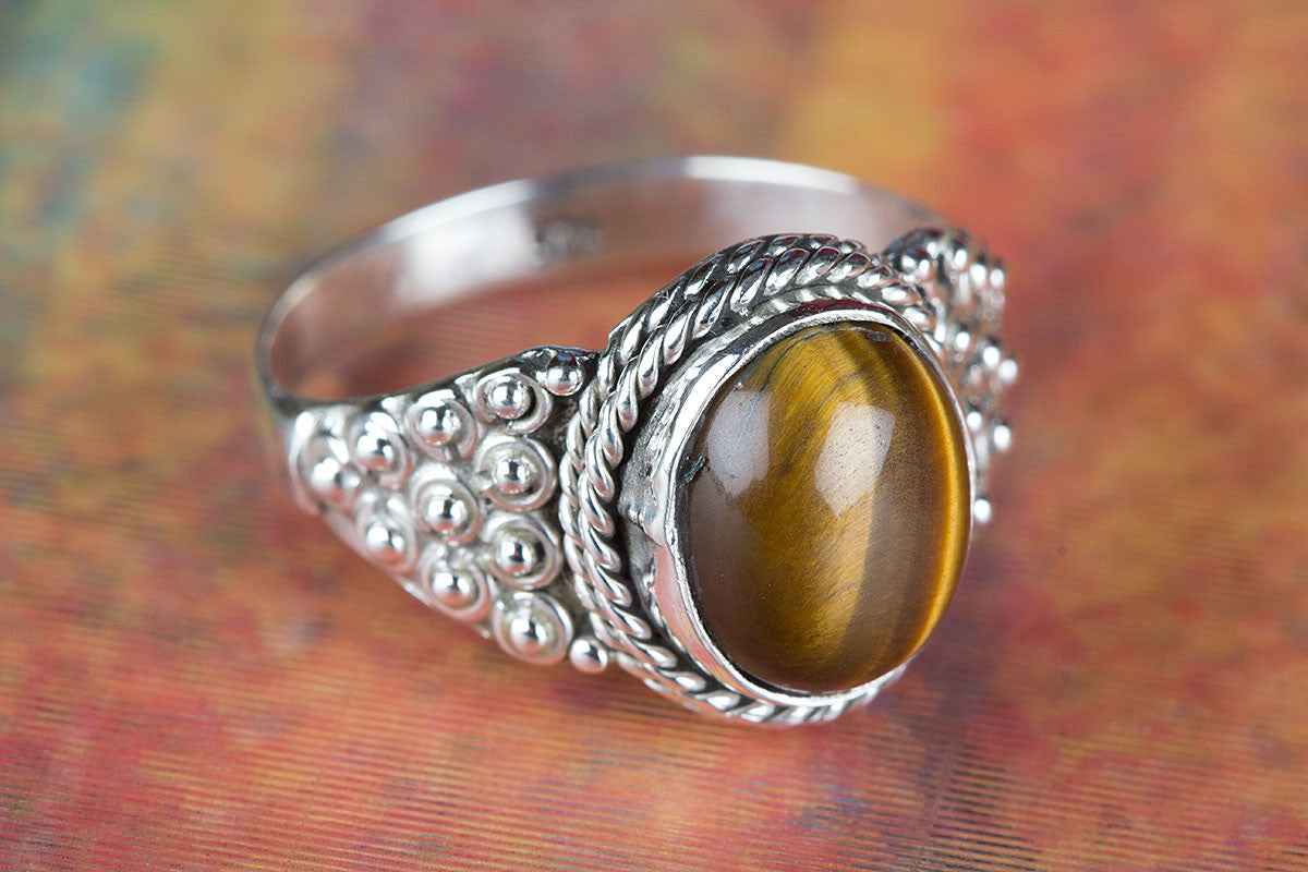 925 Sterling Silver Tiger Eye Gemstone Handmade Ring