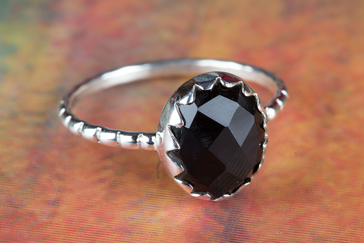 Rare 925 Sterling Silver Faceted Black Onyx Gemstone Handmade Ring