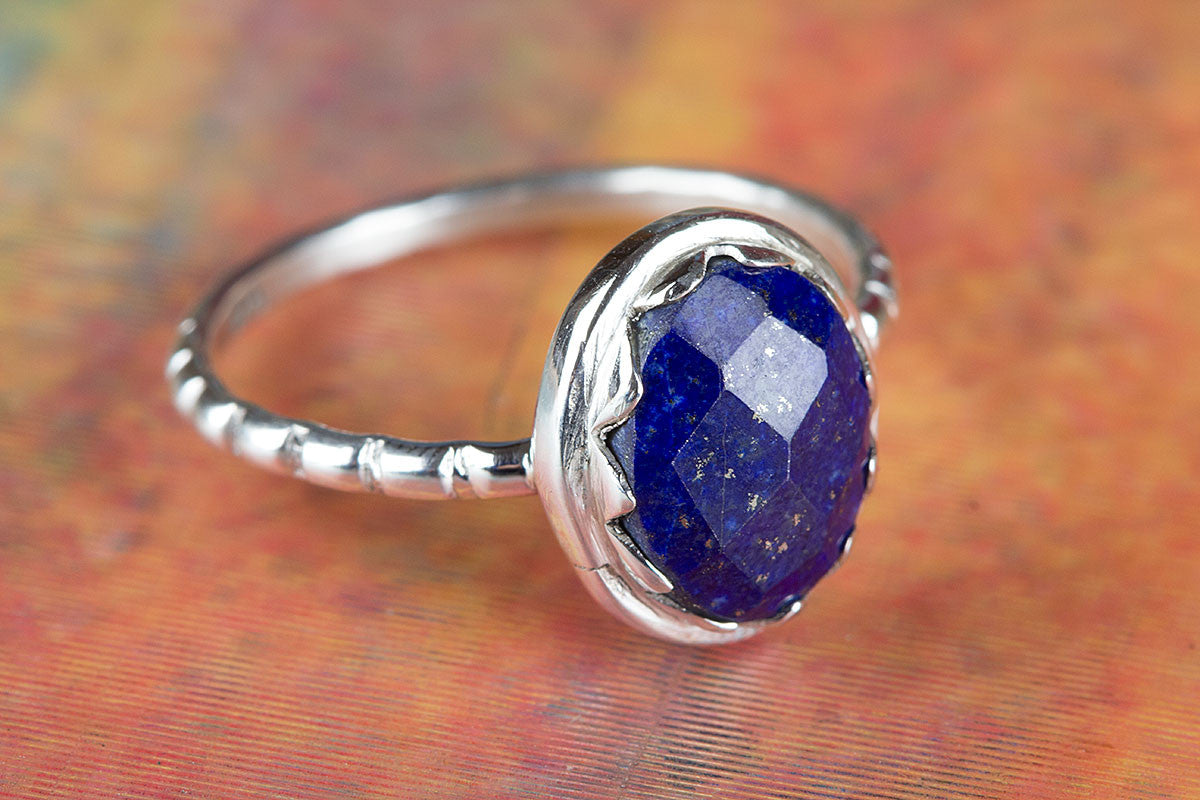 Sterling Silver Faceted Lapis lazuli Gemstone Handmade Ring