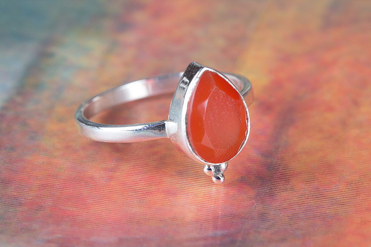 Unique 925 Silver Faceted Carnelian Gemstone Ring