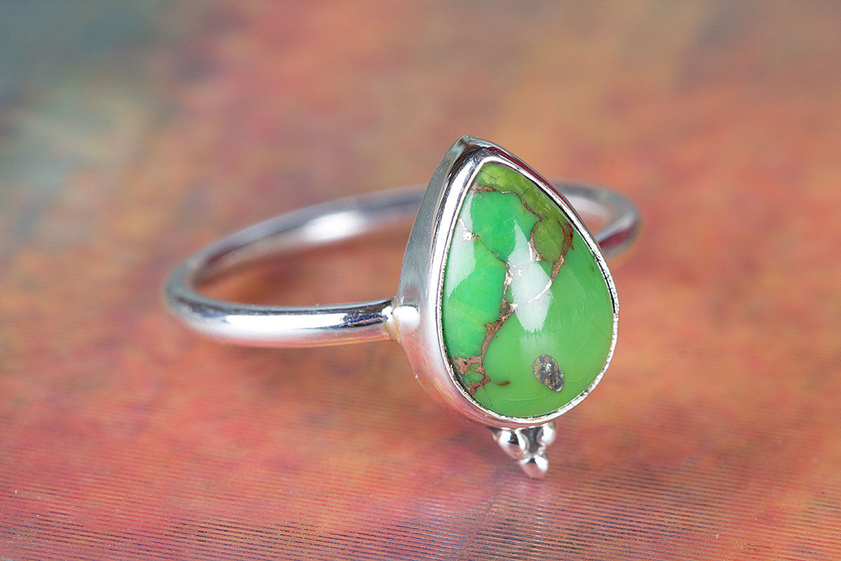Amazing 925 Sterling Silver Green Turquoise Gemstone Ring,