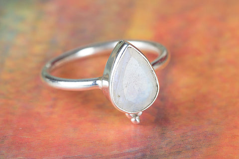 100 % Genuine 925 Sterling Silver Rainbow Moonstone Ring,