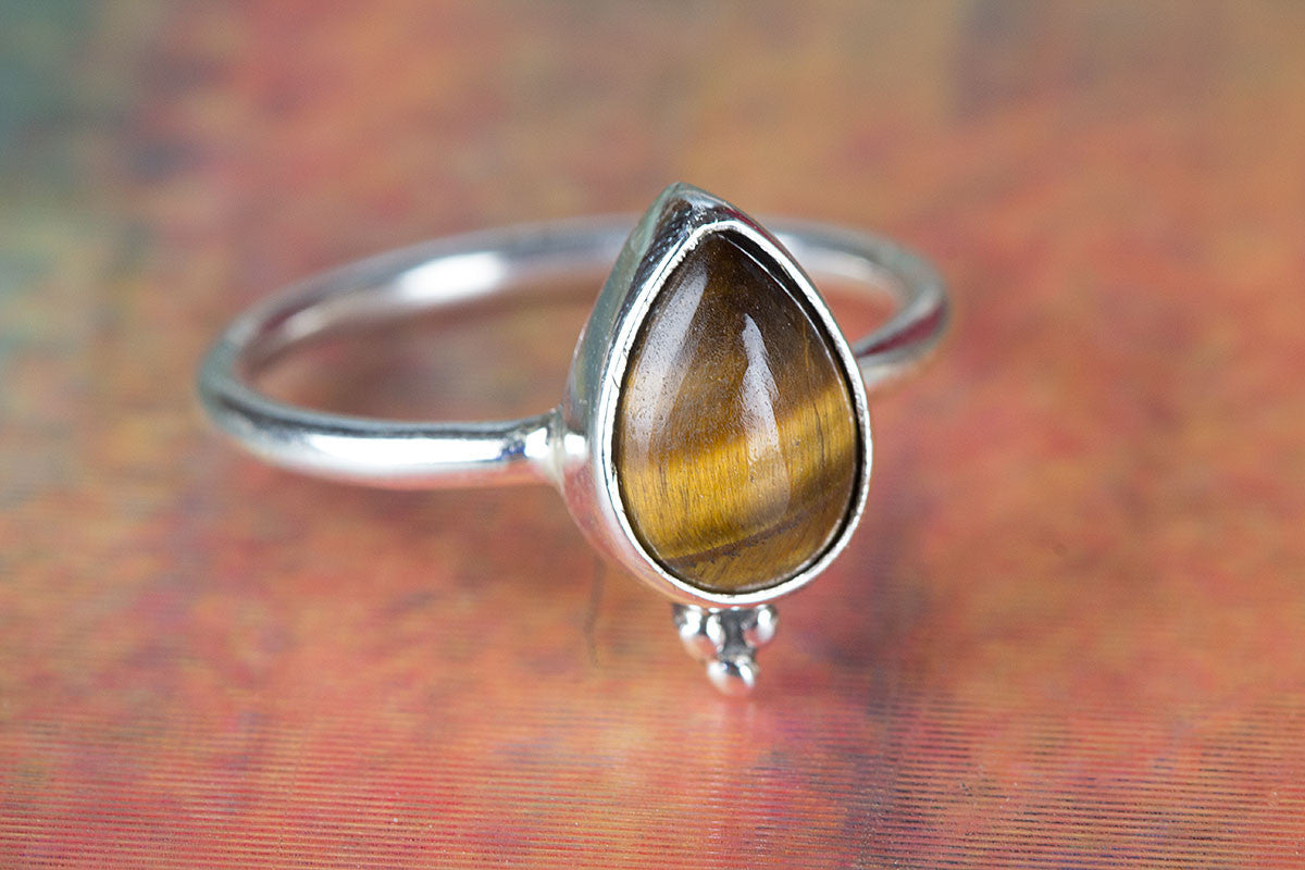 Tiger Eye Ring, Sterling Silver Ring, Statement Ring, Tiger Eye Jewelry, Bohemian Ring, Promise Ring, Handmade Jewelry, Gypsy Ring, Stacking Ring, Gift for her