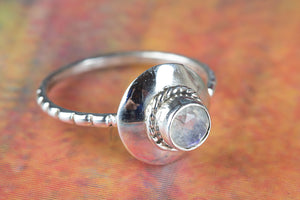 Rainbow Moonstone Ring, Sterling Silver Ring, June Birthstone Ring, Blue Fire Ring, Bohemian Ring, Moonstone Jewelry, Handcraft Ring, Silver Ring, Gift For Her,