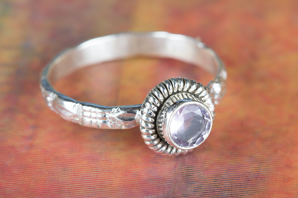 Palmeira Faceted Amethyst Gemstone Handmade 925 Sterling Silver Ring