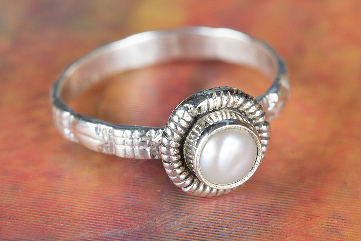 Awesome Pearl Gemstone Handmade 925 Sterling Silver Ring