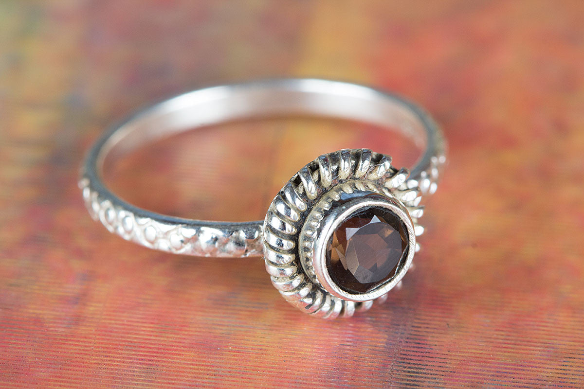 Faceted Smoky Quartz Gemstone Handmade 925 Sterling Silver Ring