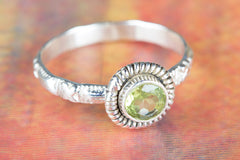 Chunky Faceted Peridot Gemstone Handmade 925 Sterling Silver Ring