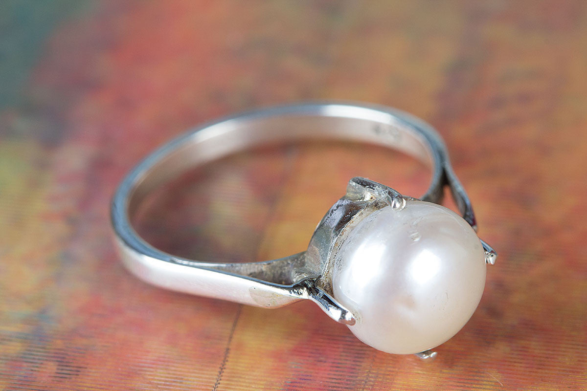 Amazing Pearl Gemstone Handmade 925 Sterling Silver Ring