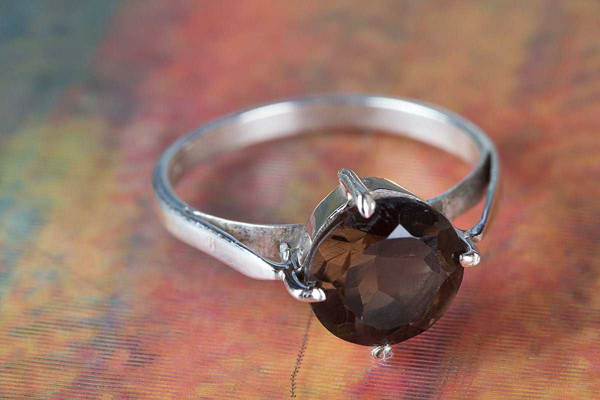 Amazing Faceted Smoky Quartz Gemstone Handmade 925 Sterling Silver Ring