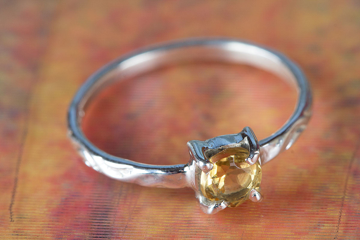 925 Sterling Silver Faceted Citrine Gemstone Handmade Ring