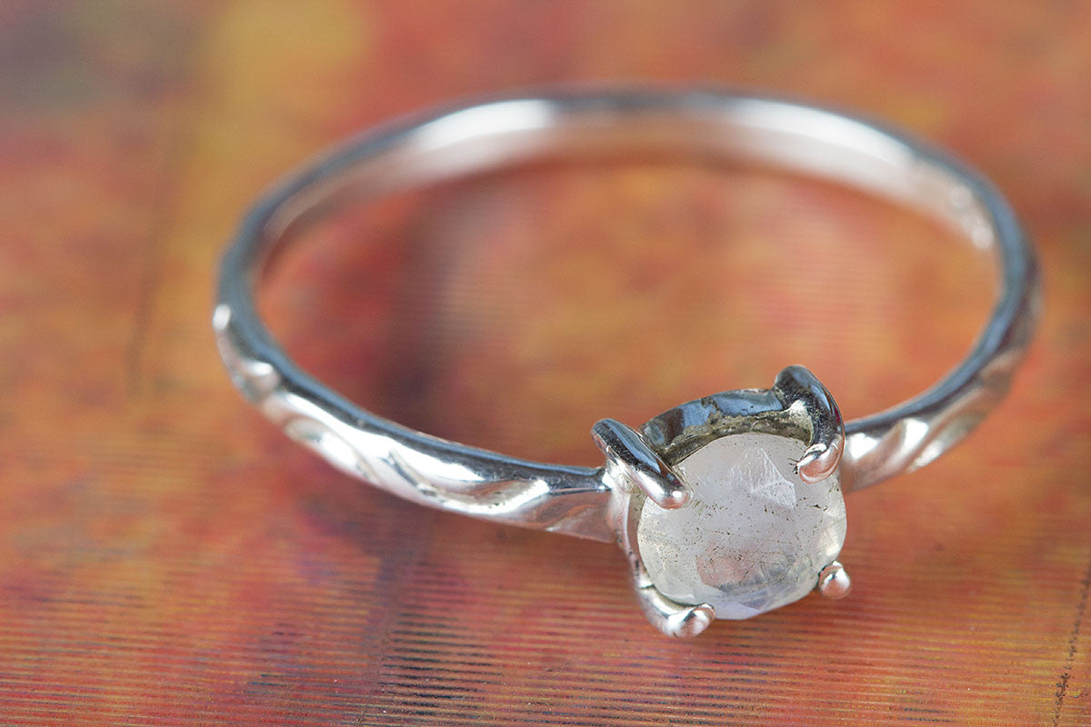 925 Sterling Silver Faceted Rainbow Moonstone Gemstone Handmade Ring
