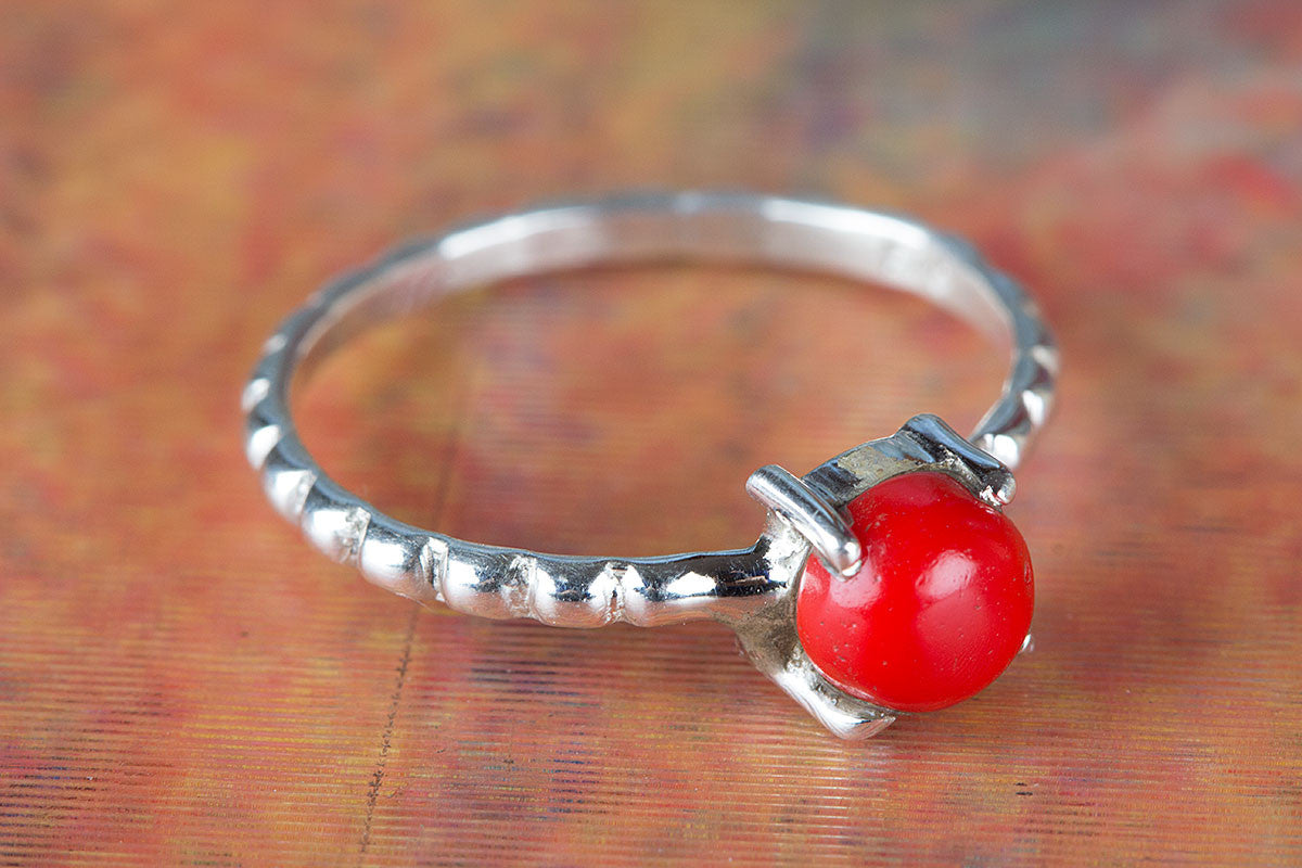Gorgeous Coral Gemstone Handmade 925 Sterling Silver Ring
