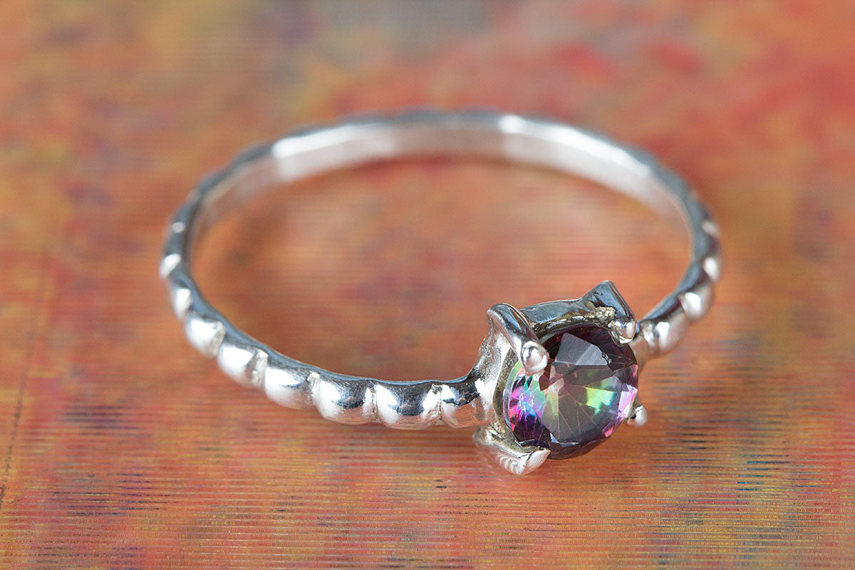Unique Mystic Topaz Gemstone Handmade 925 Sterling Silver Ring