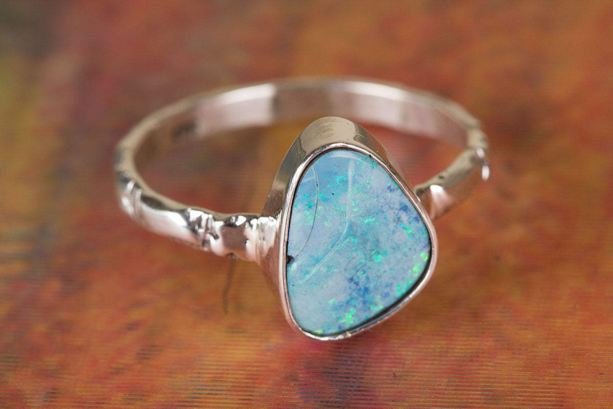 Australian Opal Ring, Blue Stone Ring, Bohemian Ring, Promise Ring, Handmade Jewelry, Gypsy Ring, Statement Ring, Nickel Free Ring, Gift For Her,