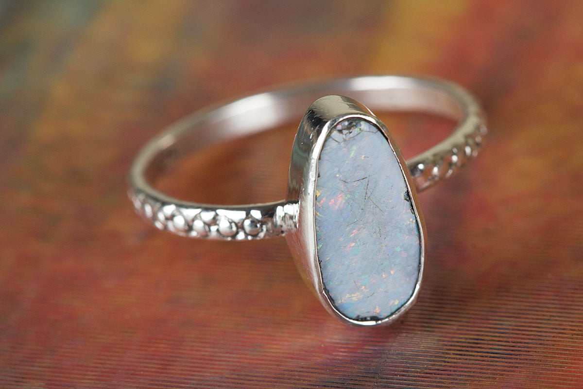 Australian Opal Ring, Sterling Silver Ring, Bohemian Ring, Promise Ring, Boho Ring, Statement Ring, Nickel Free Ring, Australian Opal Jewelry, Gift For Her,