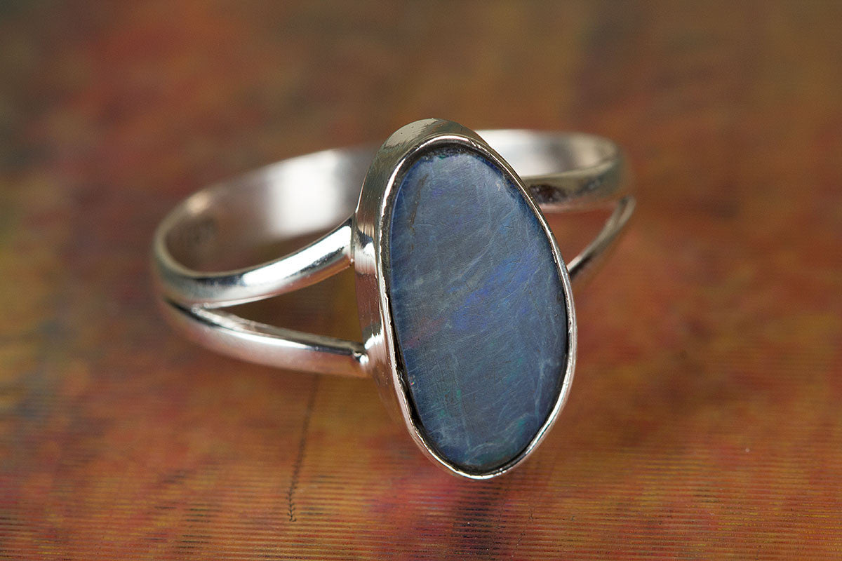 Australian Opal Ring, Sterling Silver Ring, Blue Stone Ring, Bohemian Ring, Handmade Jewelry, Gypsy Ring, Nickel Free Ring, Australian Opal Jewelry,