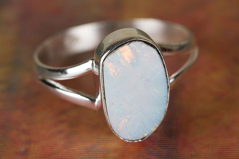 100% Pure Australian Opal Gemstone Ring