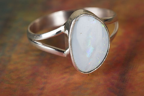 100% Genuine Australian Opal Gemstone Silver Ring