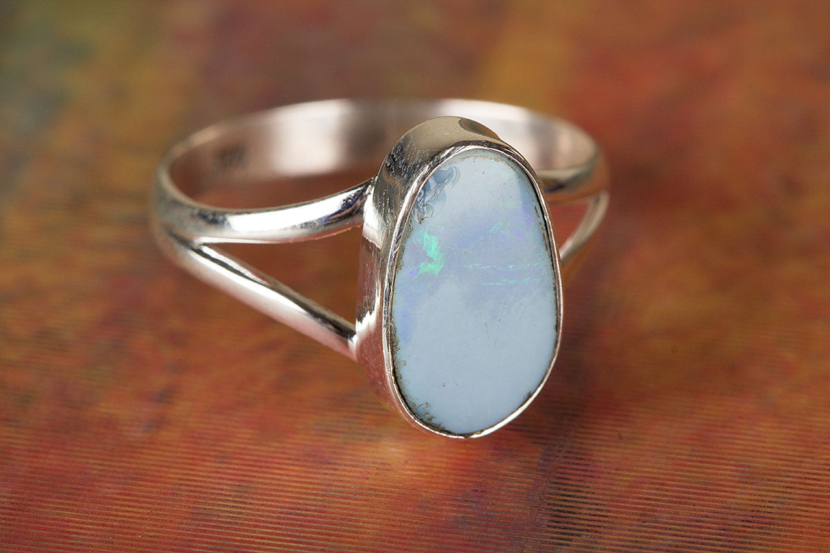 Australian Opal Ring, Sterling Silver Ring, Bohemian Ring, Promise Ring, Boho Ring, Silver Opal Ring, Statement Ring, Handmade Jewelry,