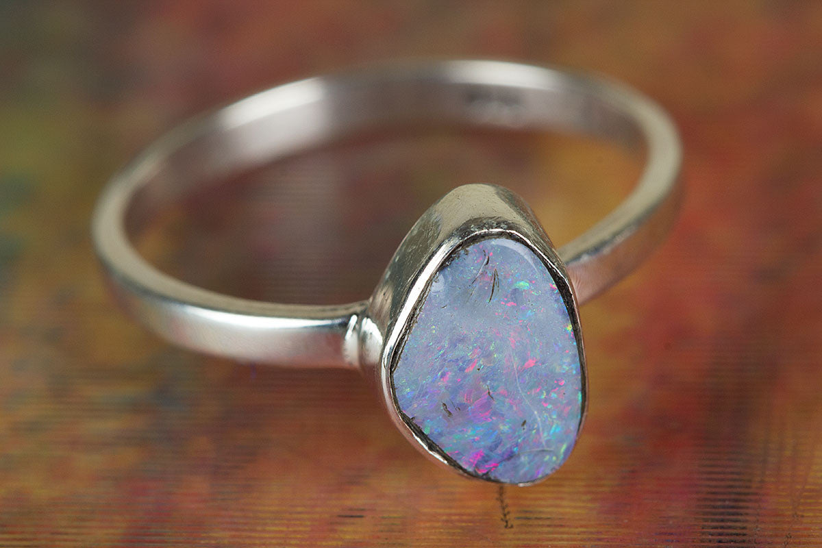 Australian Opal Ring, Sterling Silver Ring, Boho Ring, Statement Ring,  Nickel Free Ring, Bohemian Ring, Promise Ring, Handmade Jewelry, Blue Ring,