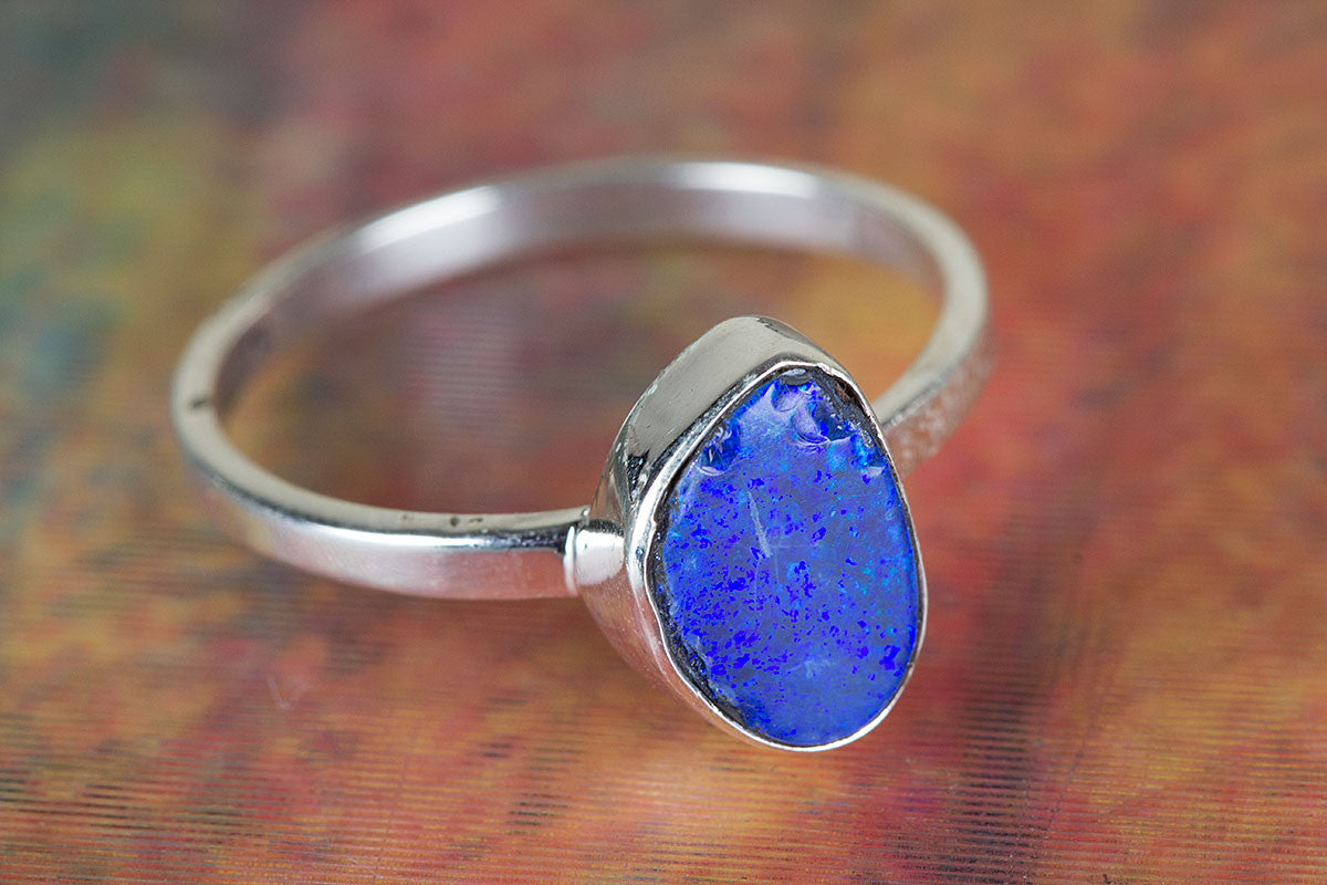 Amazing 925 Sterling Silver Australian Opal Gemstone Ring,