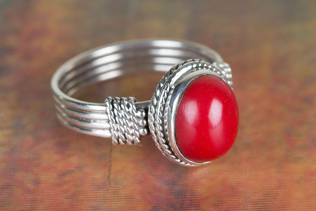 Amazing Coral Gemstone Handmade 925 Sterling Silver Ring