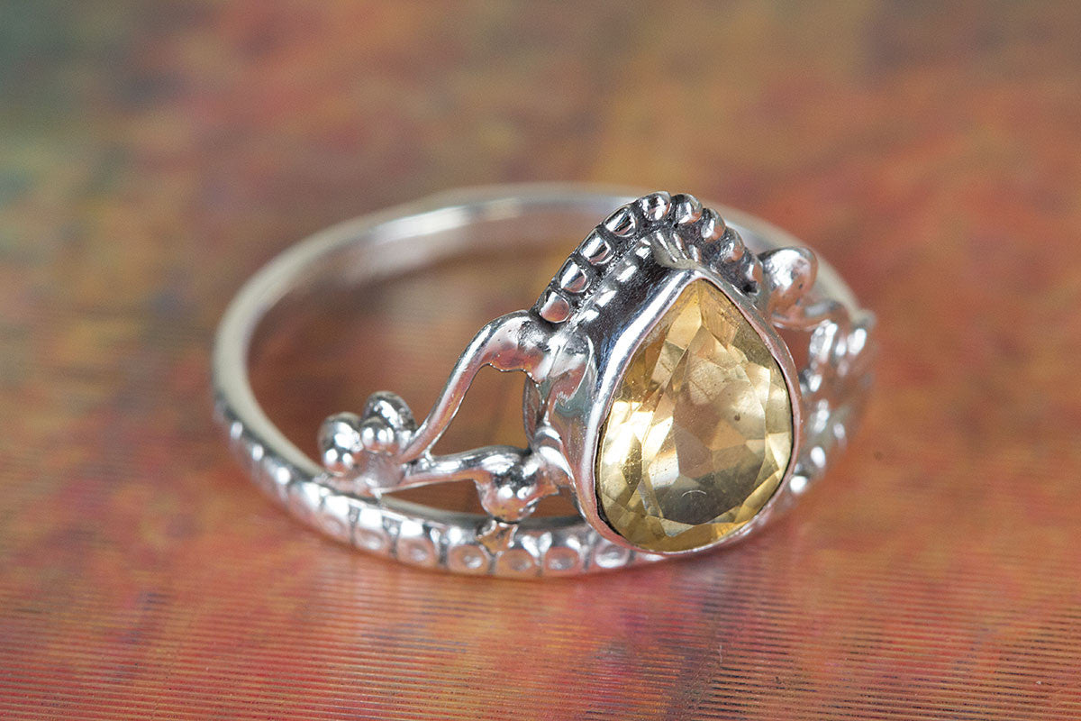 Citrine Ring, Yellow Stone Ring, Pure Sterling Silver Ring, Bohemian Ring, Citrine Jewelry, Solitaire Ring, Stacking Ring, Promise Ring, Gift for her