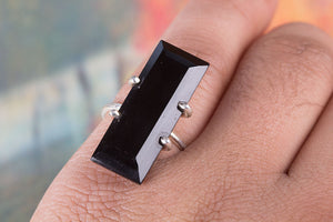 Black Onyx Ring, Sterling Silver Ring, Long Stone Ring, Black Stone Long Ring, Statement Ring, Silver Black Ring, Boho Ring, Gypsy Ring, Gift Ring