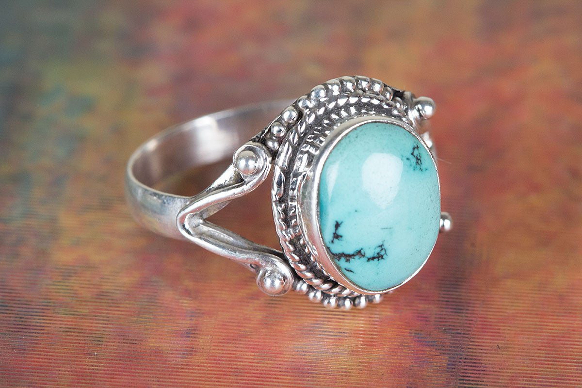 925 Sterling Silver Natural Turquoise Gemstone Ring
