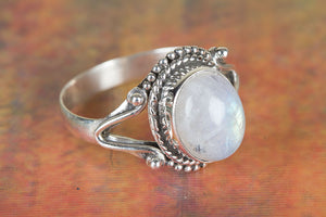 Moonstone Ring, Blue Flash Rainbow Moonstone Ring, Pure 925 Sterling Silver Ring, Healing Ring, Statement Ring, Gift For Her, Boho Ring,