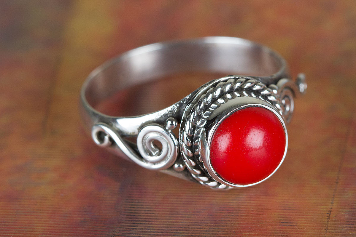 Coral Ring, Sterling Silver Ring, Boho Ring, Red Coral Jewelry, Bohemian Ring,  Promise Ring, Handmade Jewelry, Gypsy Ring, Coral Silver Ring, Artisan Ring, Gift Ring