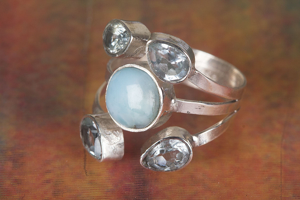 Amazing Larimar Gemstone Pure 92.5 Sterling Silver Ring