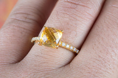 Faceted Citrine Gemstone Handmade Gold Plated 925 Silver Ring