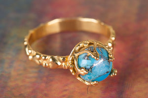 Blue Copper Turquoise Gemstone Handmade Gold Plated 925 Silver Ring