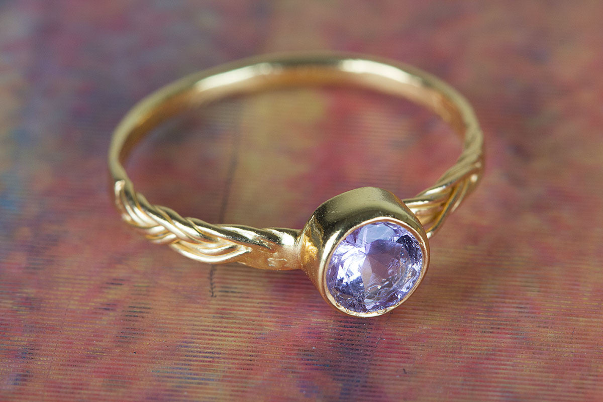 Faceted Amethyst Gemstone Handmade Gold Plated 925 Silver Ring
