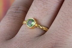 Faceted Peridot Gemstone Handmade Gold Plated 925 Silver Ring