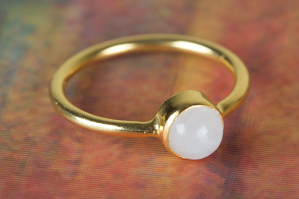 Rainbow Moonstone Gemstone Handmade Gold Plated 925 Silver Ring