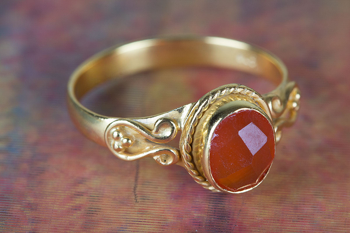 Faceted Carnelain Gemstone Handmade Gold Plated 925 Silver Ring